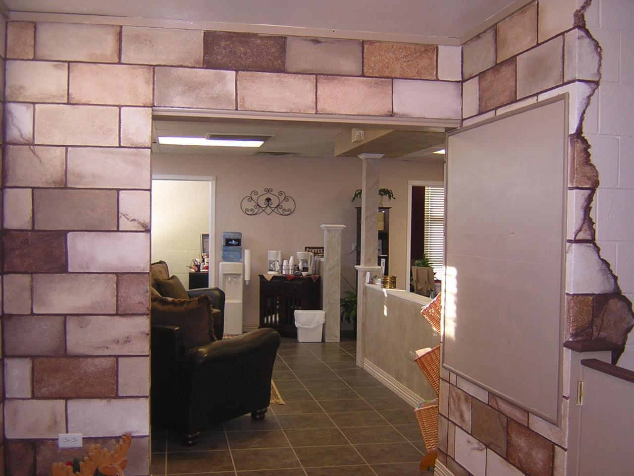 Artistic expressions painting decorating before after - Concrete block painting ideas ...